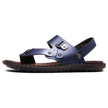 Men Microfiber Leather Large Size Clip Toe Wear-resistant Casual Sandals - ROYAL BLUE 42
