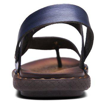 Men Microfiber Leather Large Size Clip Toe Wear-resistant Casual Sandals - ROYAL BLUE 38