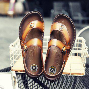 Men Microfiber Leather Large Size Clip Toe Wear-resistant Casual Sandals - GOLDEN BROWN 40