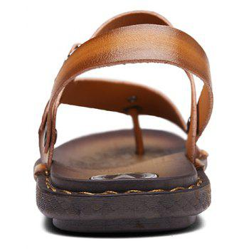 Men Microfiber Leather Large Size Clip Toe Wear-resistant Casual Sandals - GOLDEN BROWN 43