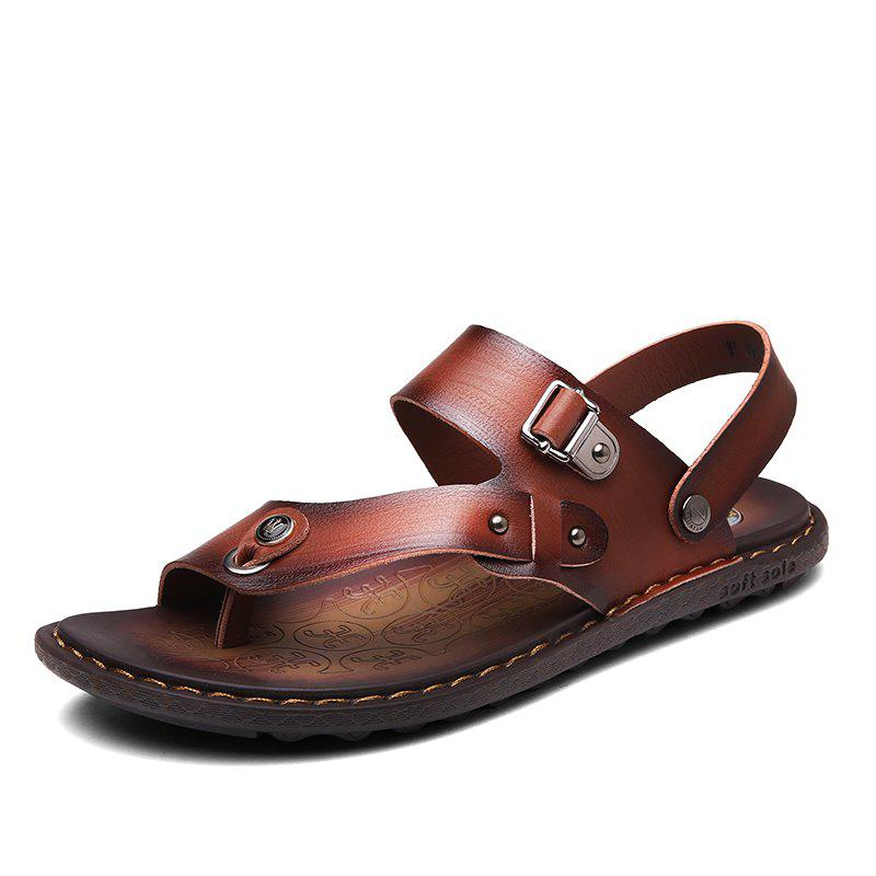 Men Microfiber Leather Large Size Clip Toe Wear-resistant Casual Sandals - LIGHT BROWN 42