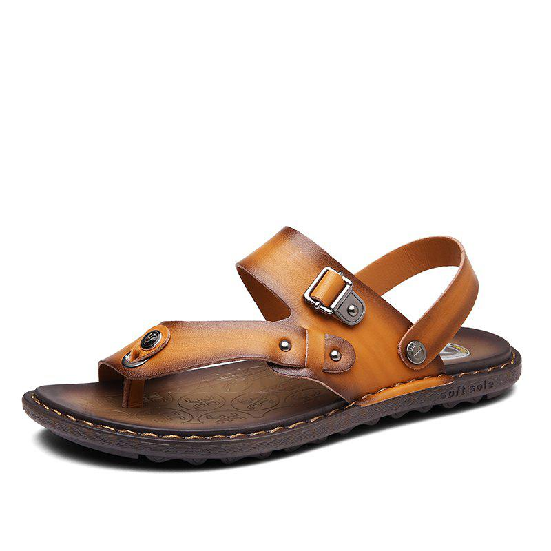 Men Microfiber Leather Large Size Clip Toe Wear-resistant Casual Sandals - GOLDEN BROWN 42