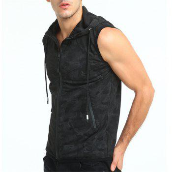 Summer New Style Men's Clothing Camouflage Color Hooded Vest - BLACK XL
