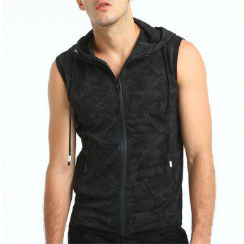 Summer New Style Men's Clothing Camouflage Color Hooded Vest - BLACK L