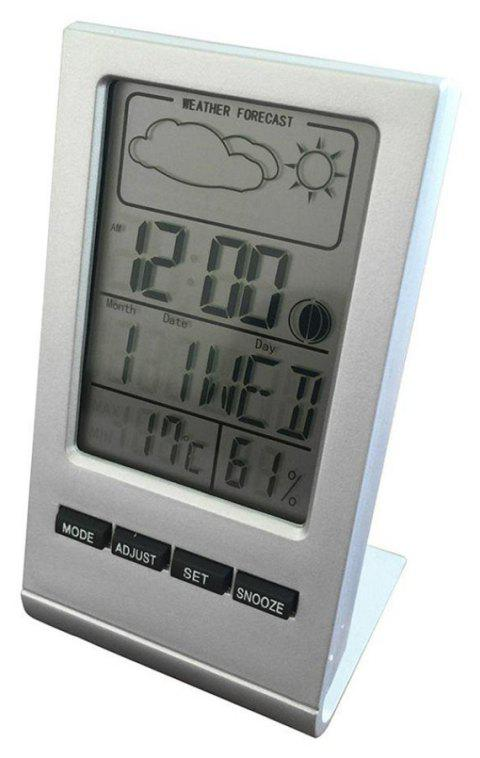 Digital Weather Forecast Station Alarm Clock LCD Screen Temperature Humidity - WHITE