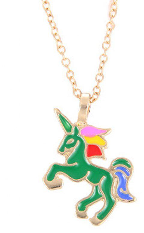 Fashion Cute Rainbow Coloured Unicorn Alloy Pendants for Woman - JUNGLE GREEN