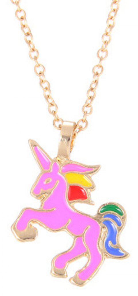 Fashion Cute Rainbow Coloured Unicorn Alloy Pendants for Woman - HOT PINK