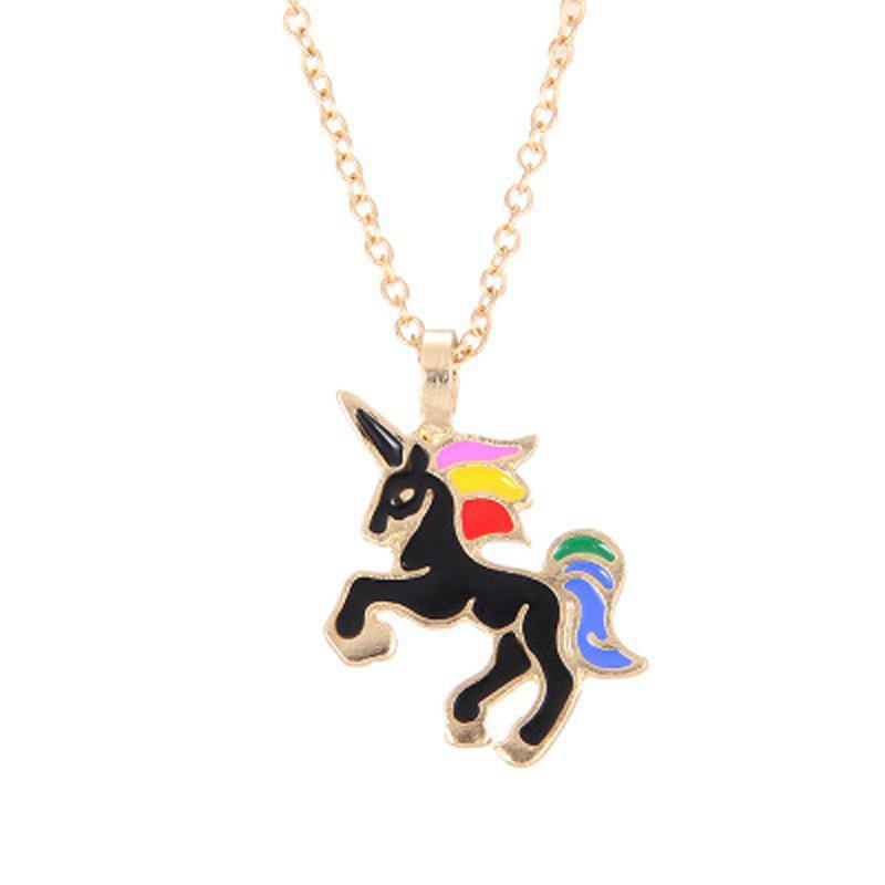 Fashion Cute Rainbow Coloured Unicorn Alloy Pendants for Woman - BLACK
