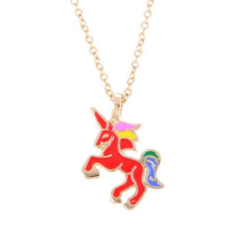 Fashion Cute Rainbow Coloured Unicorn Alloy Pendants for Woman - RED