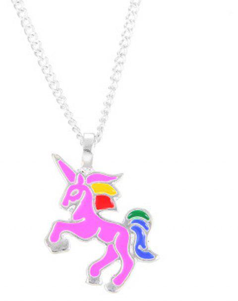 Charm Fashion Rainbow Color Unicorn Silver Pendant for Woman - HOT PINK