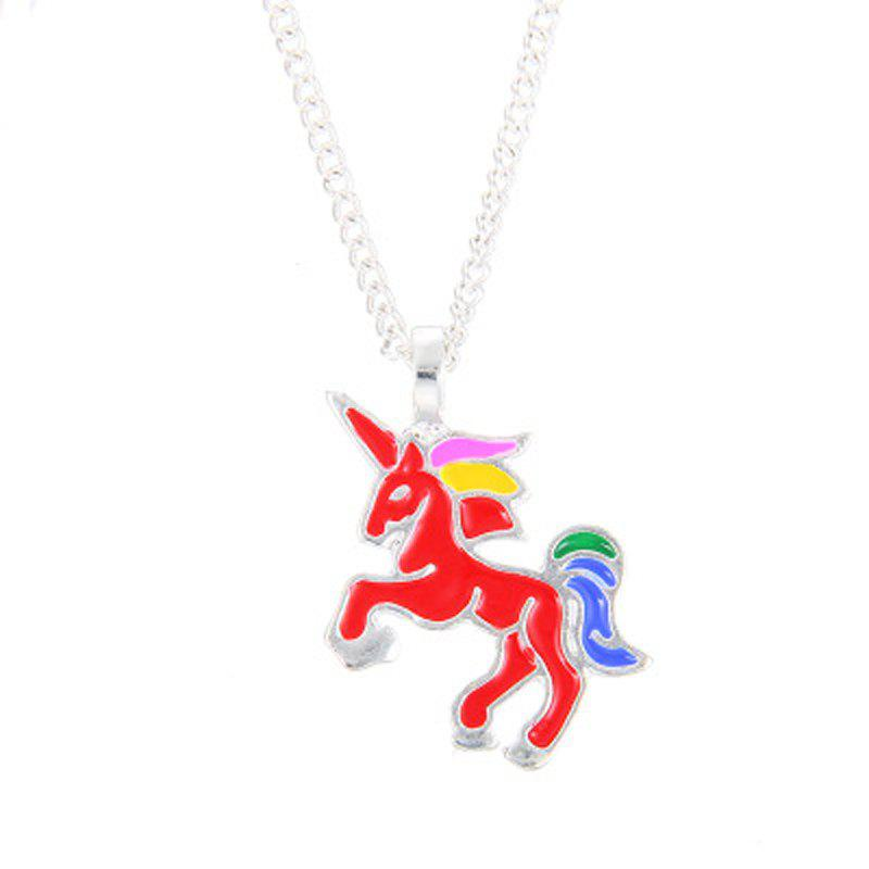 Charm Fashion Rainbow Color Unicorn Silver Pendant for Woman - RED