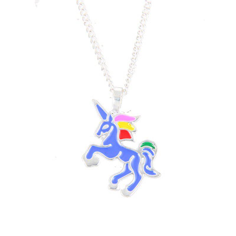 Charm Fashion Rainbow Color Unicorn Silver Pendant for Woman - DEEP SKY BLUE