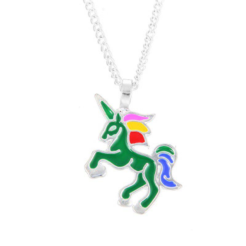 Charm Fashion Rainbow Color Unicorn Silver Pendant for Woman - SPRING GREEN