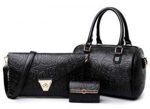 Fashion Embossed Mother Bag Rose Pattern Shoulder Diagonal Handbag - BLACK