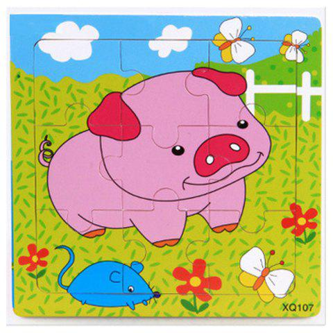 Baby Cartoon Animal Wooden Puzzle Educational Toys 9PCS - multicolor C