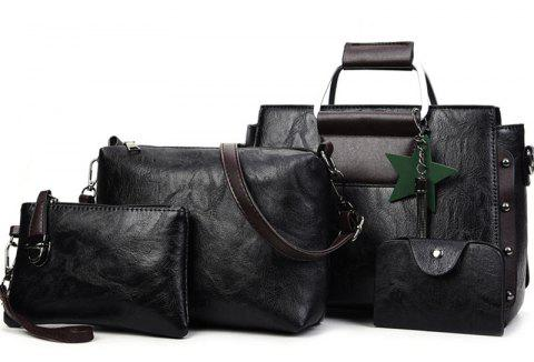Women's Fashion Wild Four-piece Shoulder Messenger Bag Handbags - BLACK