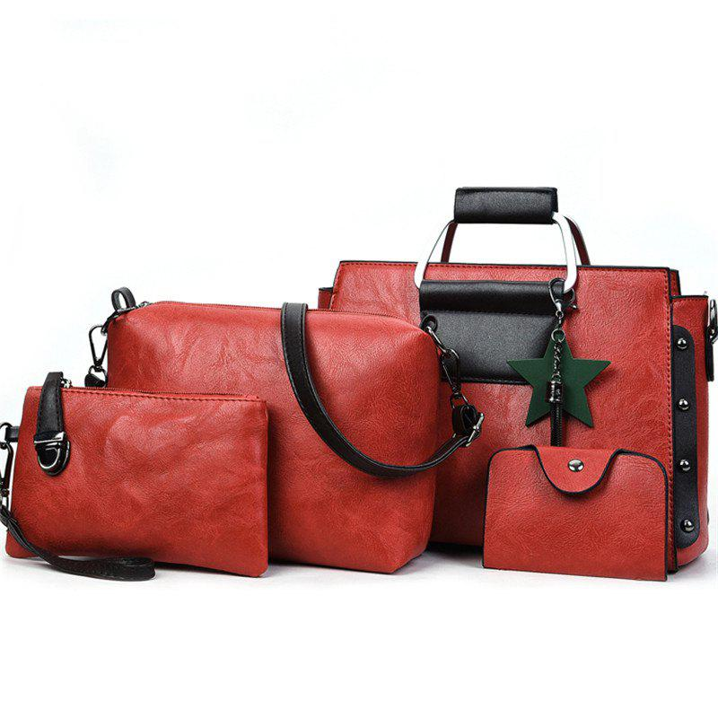 Women's Fashion Wild Four-piece Shoulder Messenger Bag Handbags - GRAPEFRUIT