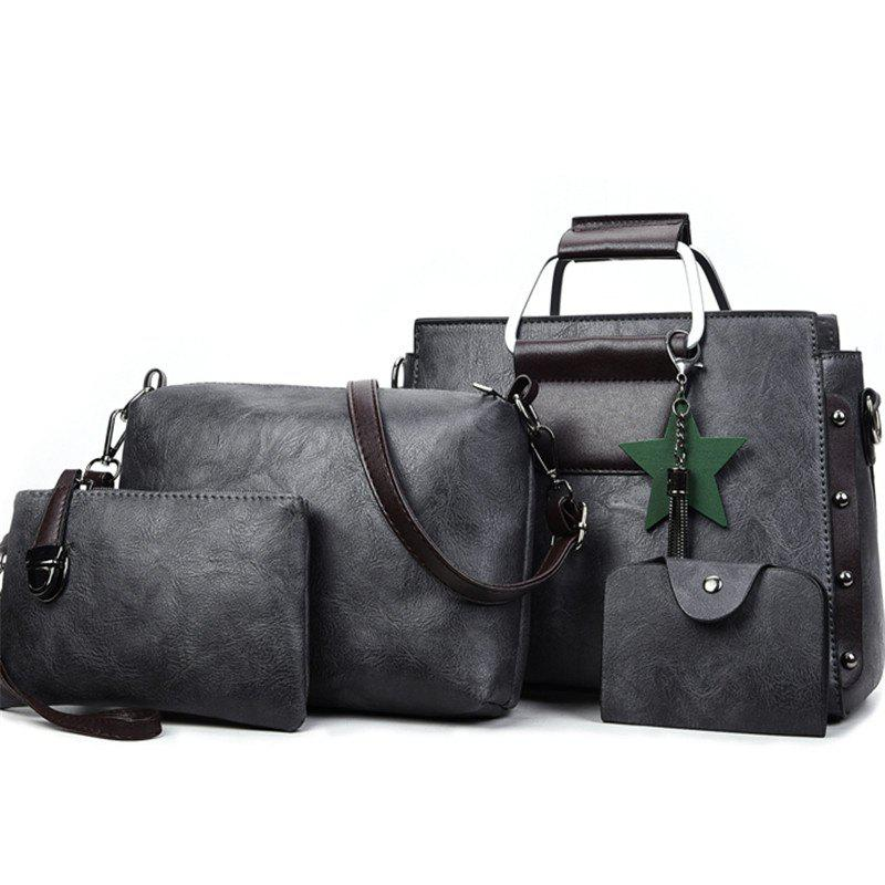 Women's Fashion Wild Four-piece Shoulder Messenger Bag Handbags - JET GRAY