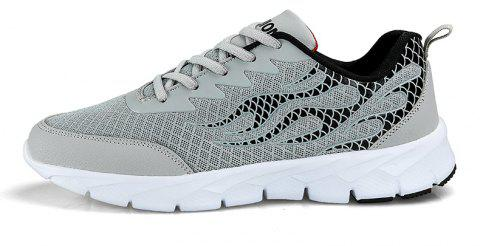 Flame Mesh Flying Men's Sneakers - LIGHT GRAY 42