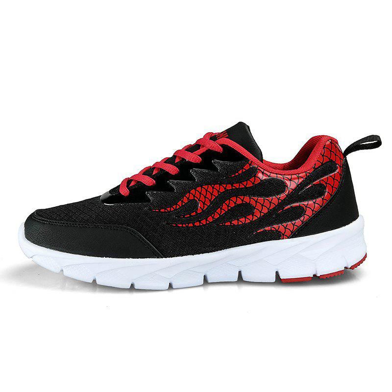 Flame Mesh Flying Men's Sneakers - BLACK 42