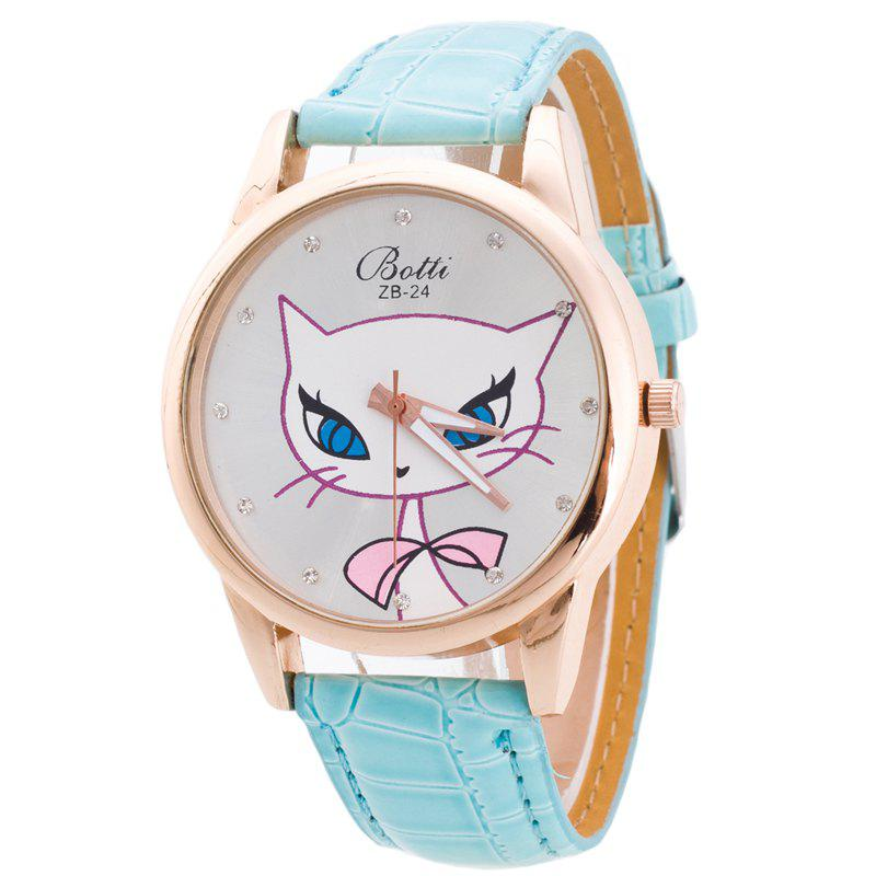Cartoon Big Face Cat Woman Watch - MINT GREEN