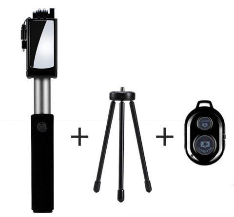 Universal Mirror Wired Extendable Selfie Stick Bluetooth Tripod Monopod - SILVER