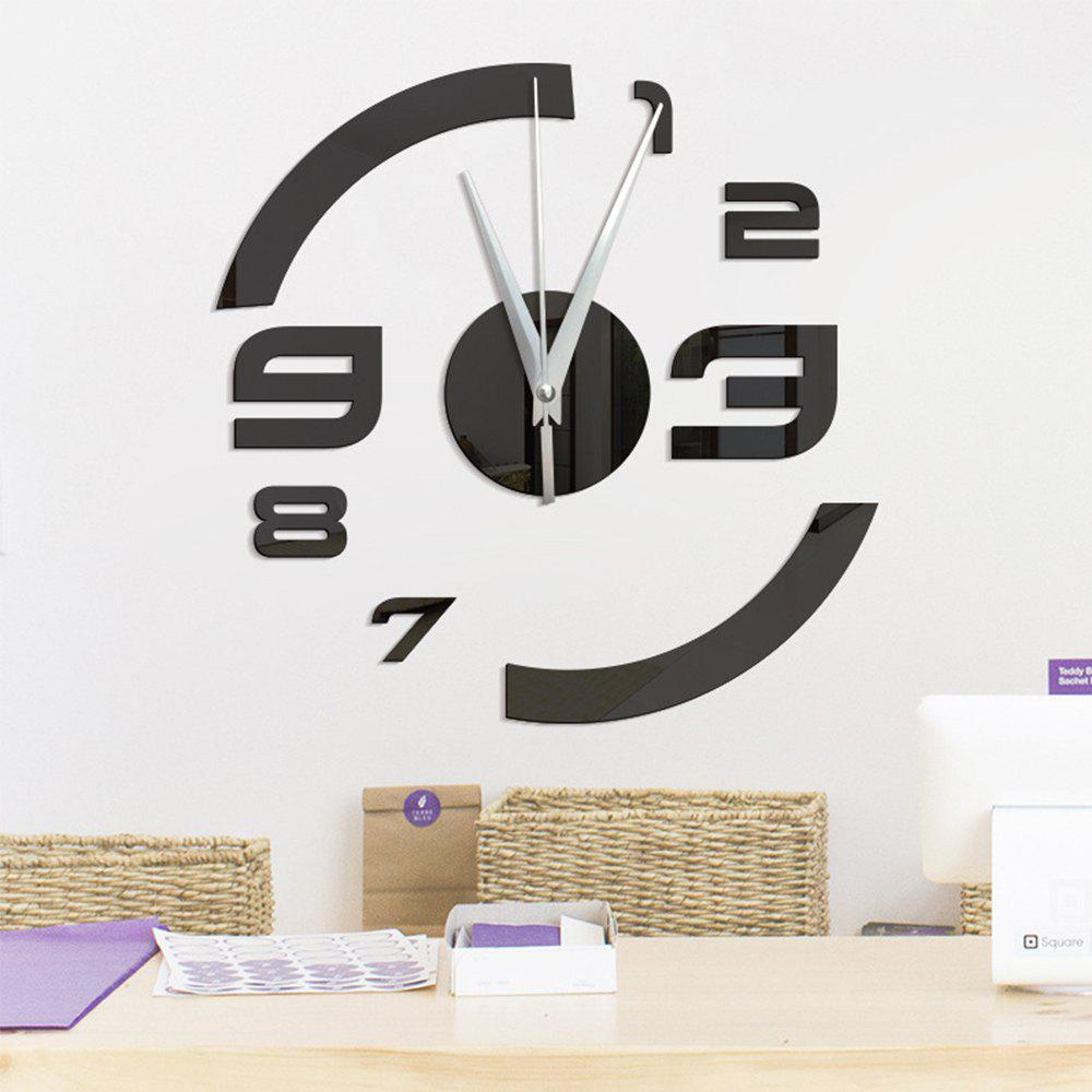 Home Decoration DIY Three-dimensional Mirror  Clock Wall Stickers - BLACK