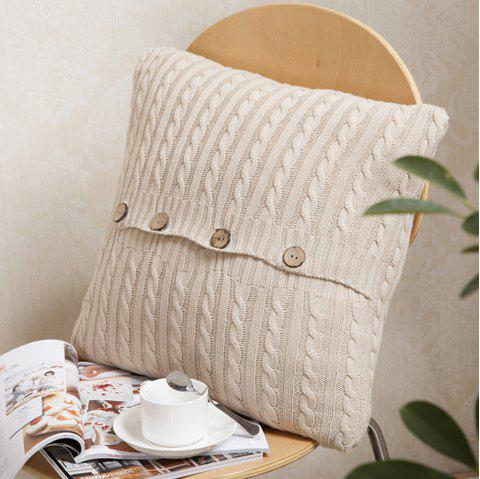 Double Side Wool Knitwear Knitted Cushion Cover - BEIGE