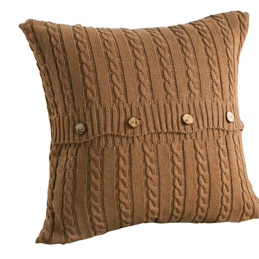 Double Side Wool Knitwear Knitted Cushion Cover - CAMEL BROWN