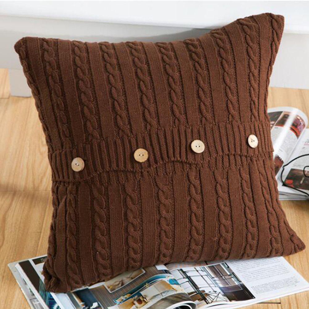 Double Side Wool Knitwear Knitted Cushion Cover - COFFEE