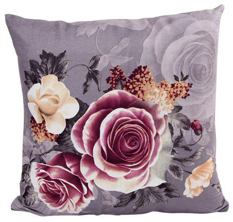 Super Soft Location Printing Dyeing Peony Cushion Cover - GRAY