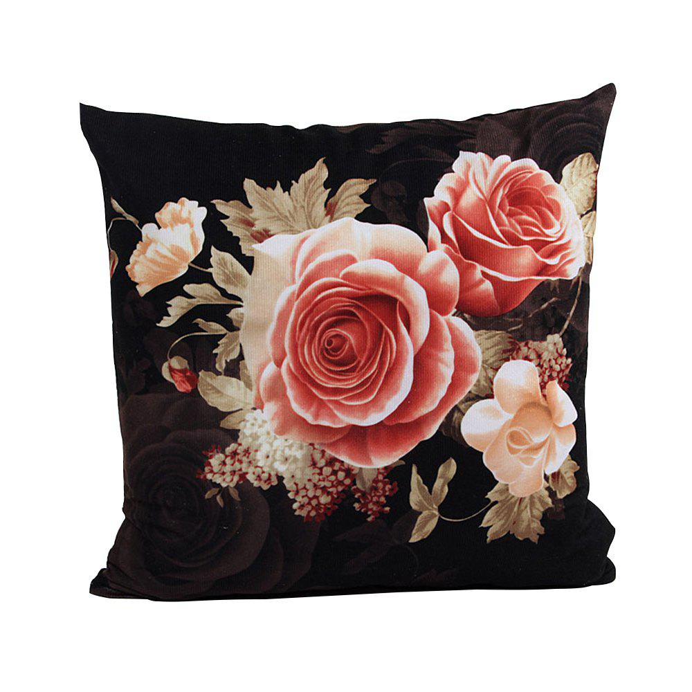 Super Soft Location Printing And Dyeing Peony Cushion Cover - BLACK