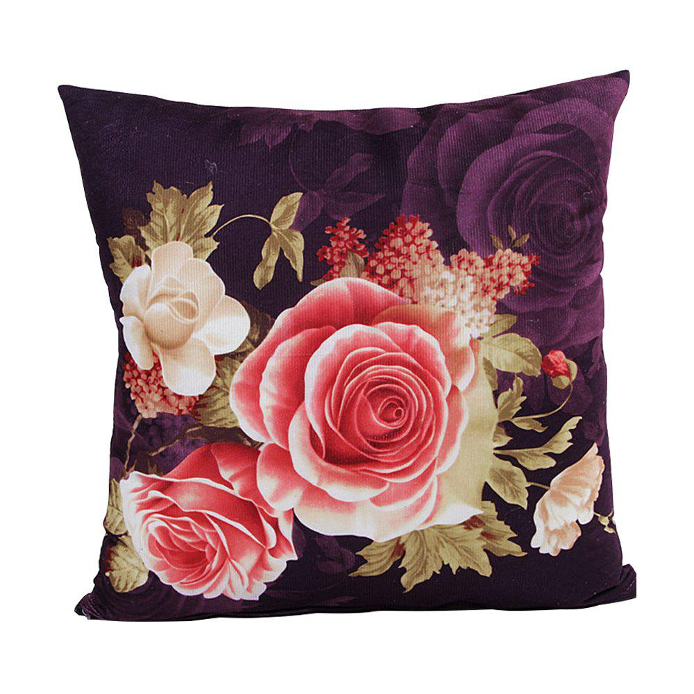 Super Soft Location Printing And Dyeing Peony Cushion Cover - VIOLA PURPLE