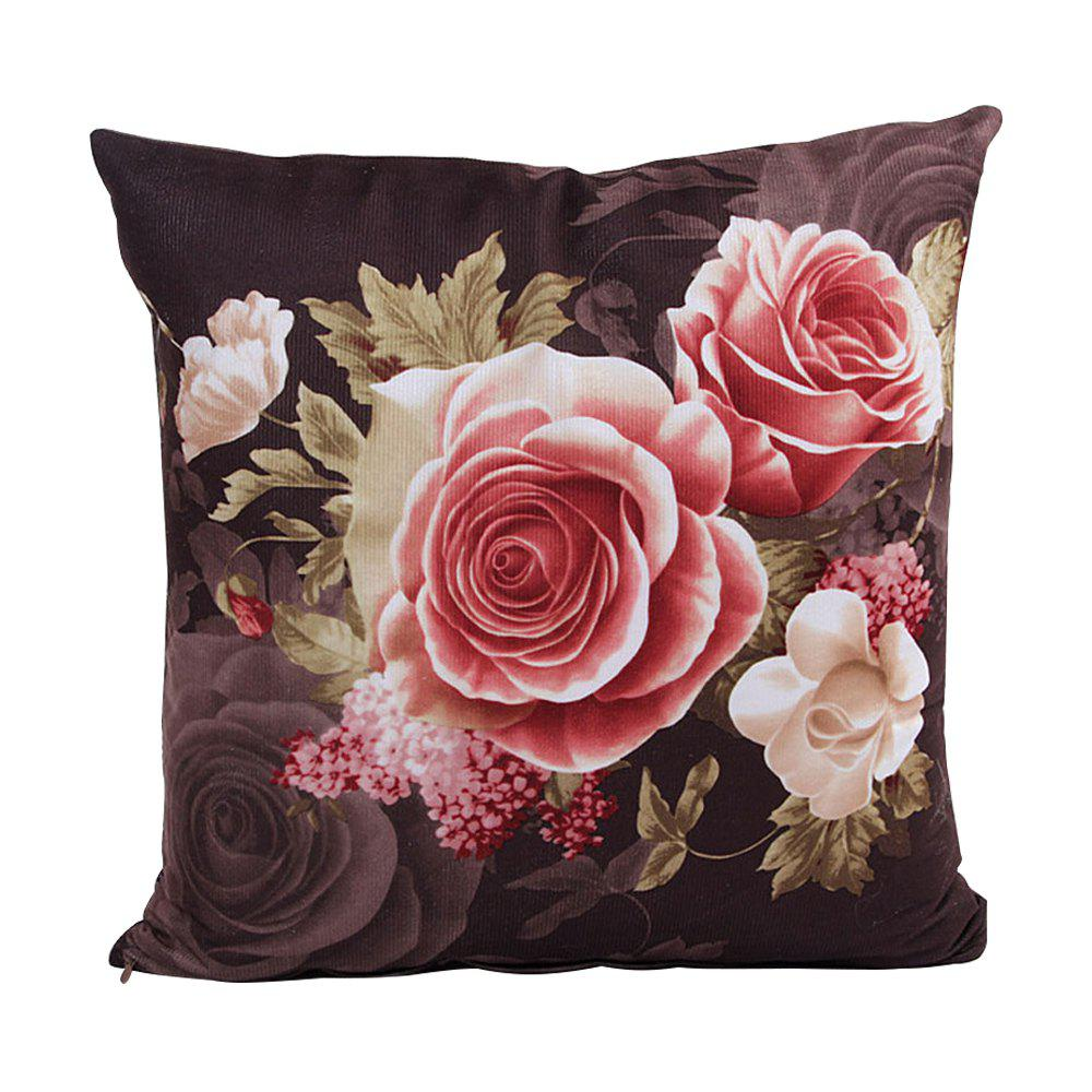 Super Soft Location Printing And Dyeing Peony Cushion Cover - COFFEE