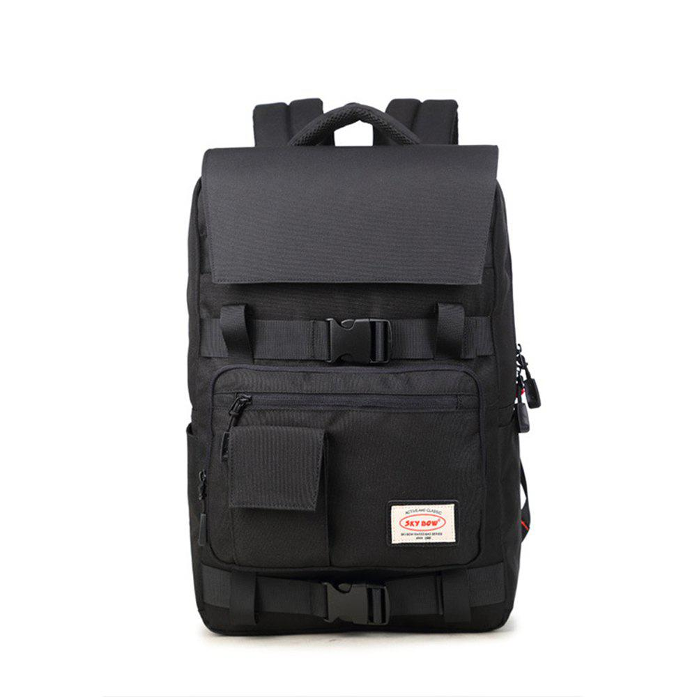 Men Oxford Cloth Climbing Bag Large Capacity Computer Backpack - BLACK