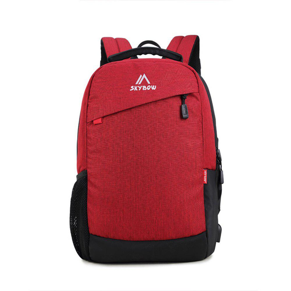 USB Charging Waterproof Laptop Student Bag - RED