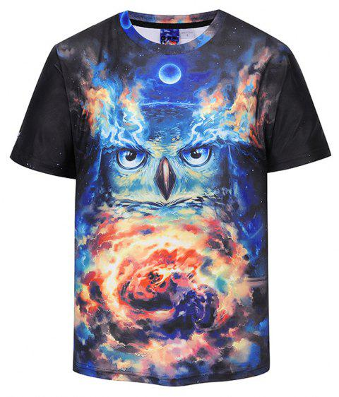 Fashion Owl 3D Print T-shirt - multicolor A 2XL