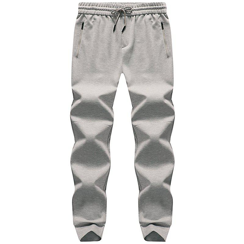 Pocket Zipper Men's Casual Jogging Pants Sports Trousers - LIGHT GRAY 4XL