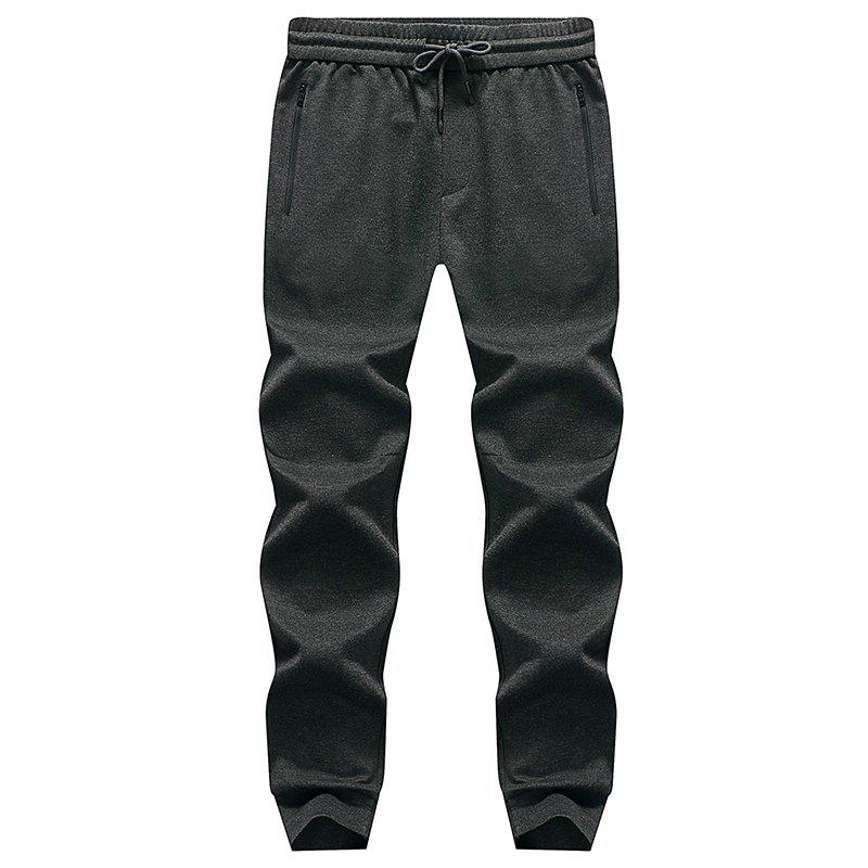 Pocket Zipper Men's Casual Jogging Pants Sports Trousers - DARK GRAY XL