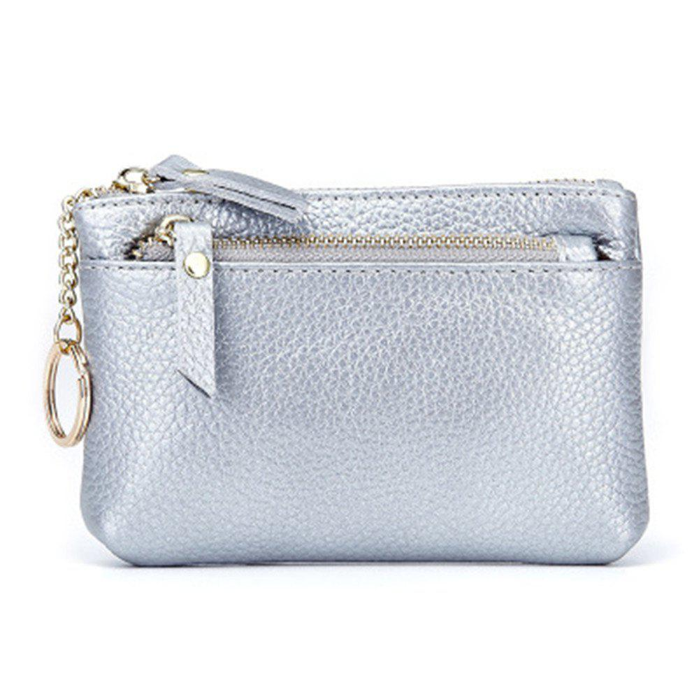 Big Capacity Women Wallets Ladies Clutch Female Fashion Leather Bags - SILVER