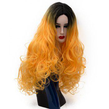 Long Curly Dark Roots Orange Wig for Women Cosplay Party Heat Resistant 29 inch - SAFFRON