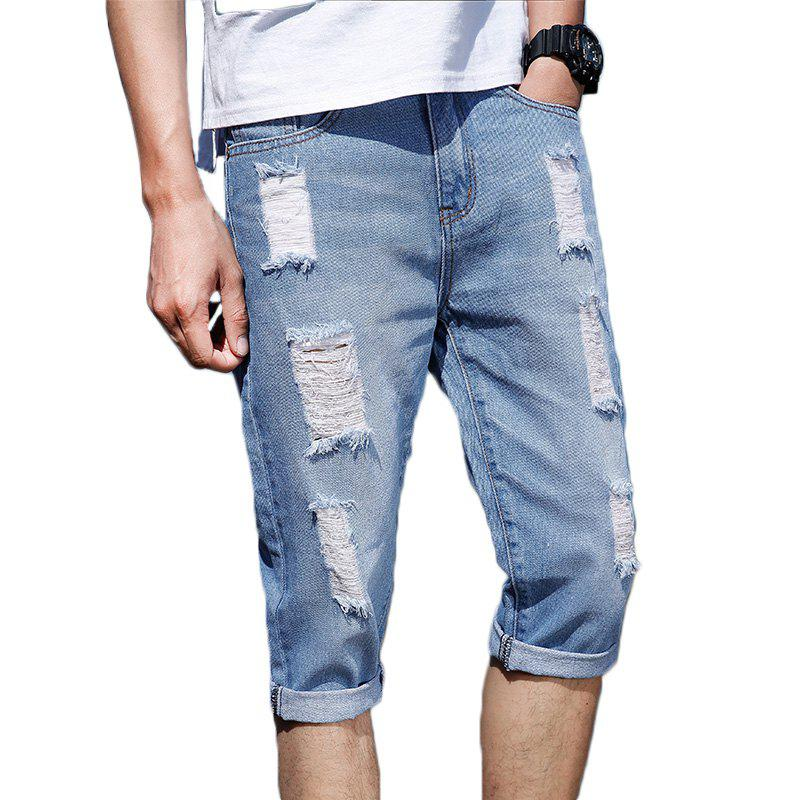 Summer Hole Slim Men's Jeans - JEANS BLUE 33