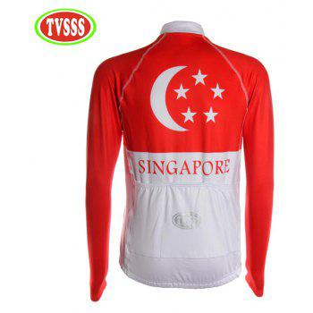 TVSSS Men Winter Long Sleeve Warmth Singapore Flag Mode Cycling Sportswear - multicolor L