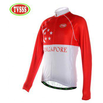 TVSSS Men Winter Long Sleeve Warmth Singapore Flag Mode Cycling Sportswear - multicolor M