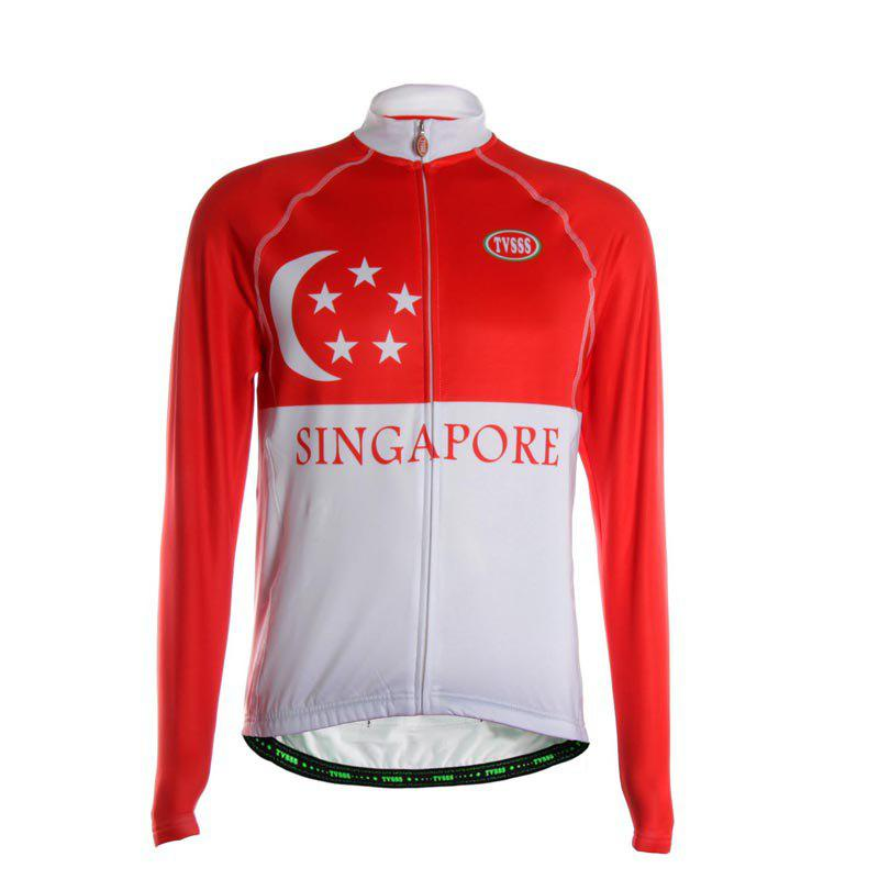 TVSSS Men Winter Long Sleeve Warmth Singapore Flag Mode Cycling Sportswear - multicolor S