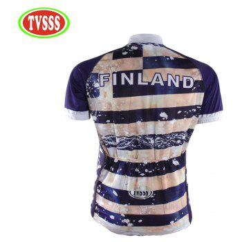 TVSSS Summer Short Sleeve Blue Stripe Letter Cycling Sportswear - multicolor XL