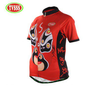TVSSS Women Summer Short Sichuan Opera Pattern Red Cycling Jersey T-Shirt - RED 2XL