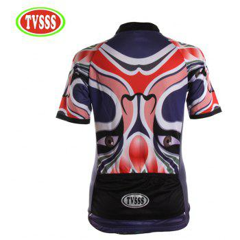 TVSSS Women Summer Short Chinese Opera Mask Lotus Pattern Cycling Sportswear - VIOLET M