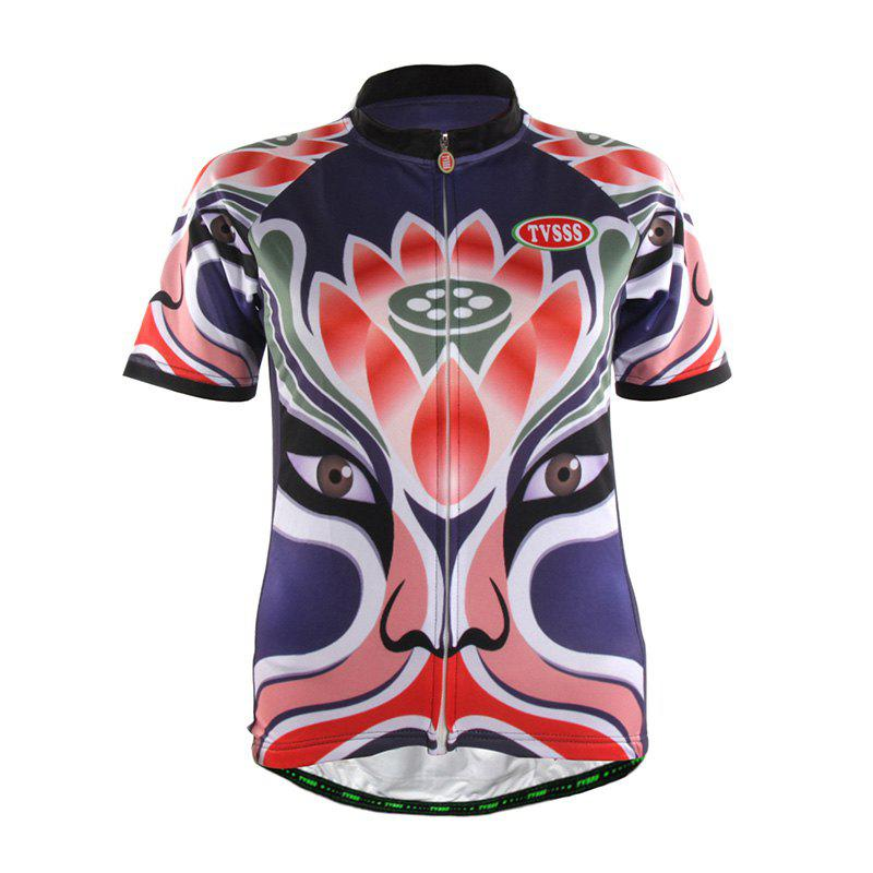 TVSSS Women Summer Short Chinese Opera Mask Lotus Pattern Cycling Sportswear - VIOLET 3XL