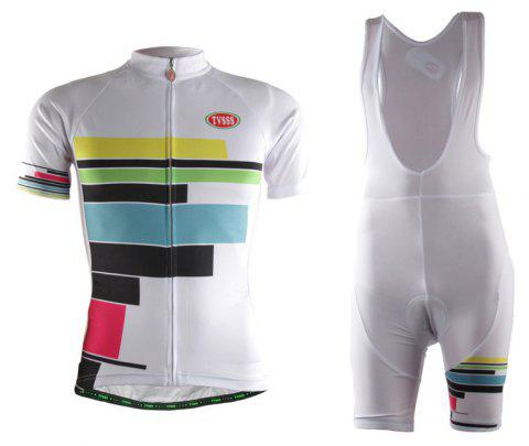 TVSSS Women Summer Short Sleeve Color Stripe Pattern White Cycling Jersey Suit - WHITE 3XL